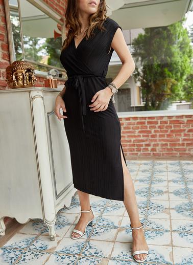 XHAN Kruvaze Kemerli Elbise 0Yxk6-43374-02 Siyah